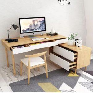 Bàn làm việc liền tủ tại nhà bằng gỗ đẹp BLV-4981