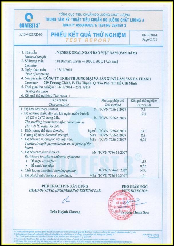 Bảng báo giá ván BA THANH