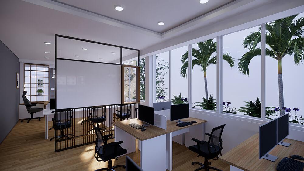 Nội thất văn phòng nhỏ thiết kế Mẫu & Phối cảnh 3D